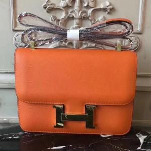 Hermes Orange Constance MM 24cm Epsom Leather Bag