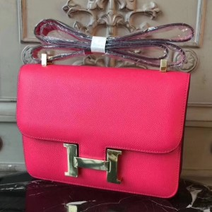 Hermes Red Constance MM 24cm Epsom Leather Bag