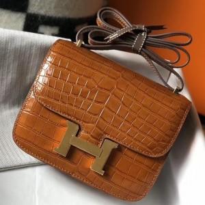 Hermes Constance 18cm Bag In Brown Embossed Crocodile