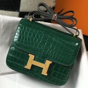 Hermes Constance 18cm Bag In Green Embossed Crocodile