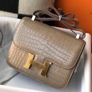 Hermes Constance 18cm Bag In Taupe Embossed Crocodile