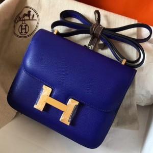 Hermes Mini Constance 18cm Epsom Blue Electric Bag