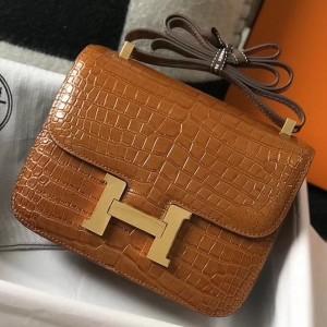 Hermes Constance 24cm Bag In Brown Embossed Crocodile