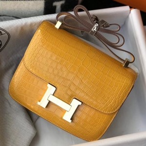 Hermes Constance 24cm Bag In Yellow Embossed Crocodile