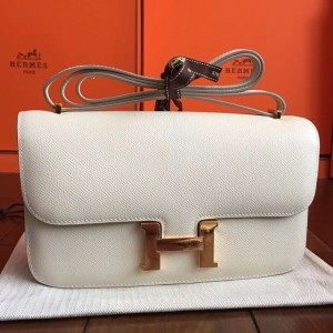 Hermes White Epsom Constance Elan 25cm Bag