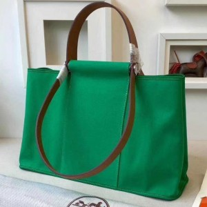 Hermes Cabag Elan Bag In Bamboo Canvas