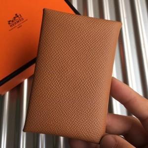 Hermes Brown Epsom Calvi Card Holder
