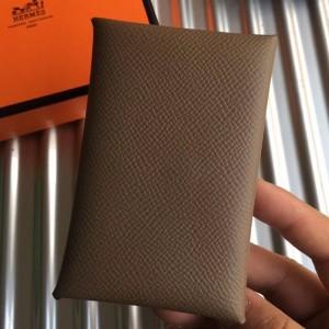 Hermes Taupe Epsom Calvi Card Holder
