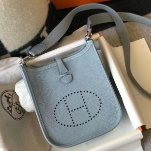 Hermes Evelyne III TPM Bag In Blue Lin Clemence Leather