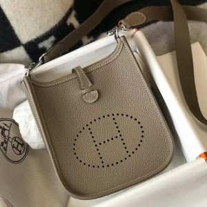 Hermes Evelyne III TPM Bag In Taupe Clemence Leather
