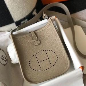 Hermes Evelyne III TPM Bag In Tourterelle Clemence Leather