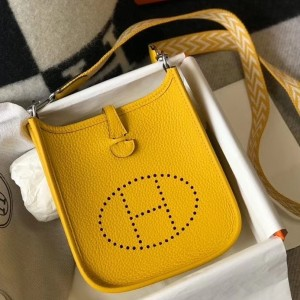 Hermes Evelyne III TPM Bag In Yellow Clemence Leather
