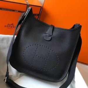 Hermes Evelyne III 29 Bag In Black Clemence Leather