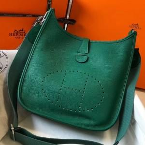 Hermes Evelyne III 29 Bag In Vert Vertigo Clemence Leather