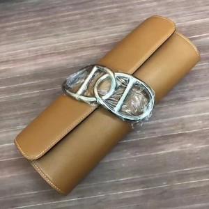 Hermes Handmade Egee Clutch In Caramel Swift Leather