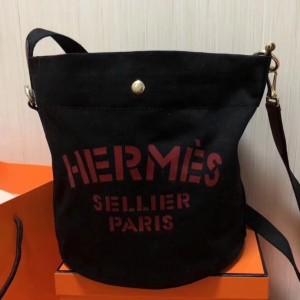 Hermes Grooming Bucket Bag In Black Canvas