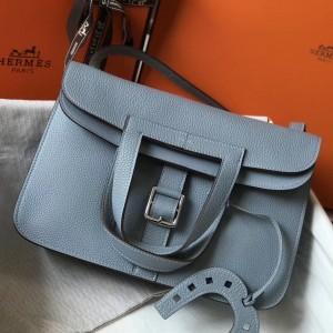 Hermes Halzan Bag In Blue Lin Clemence Leather