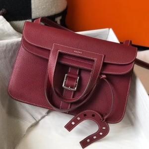 Hermes Halzan Bag In Bordeaux Clemence Leather