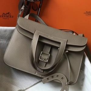 Hermes Halzan Bag In Grey Clemence Leather
