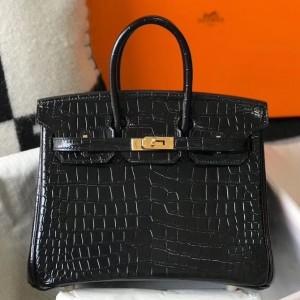 Hermes Birkin 25cm Bag In Black Embossed Crocodile Leather