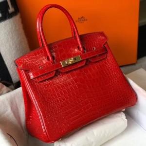 Hermes Birkin 25cm Bag In Red Embossed Crocodile Leather