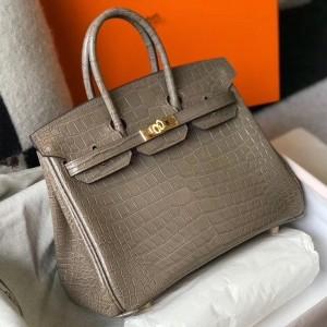 Hermes Birkin 25cm Bag In Taupe Embossed Crocodile Leather