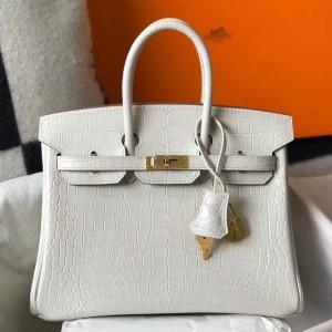 Hermes Birkin 25cm Bag In White Embossed Crocodile Leather