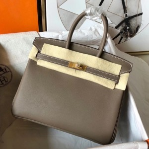 Hermes Taupe Birkin 25cm Swift Handmade Bag