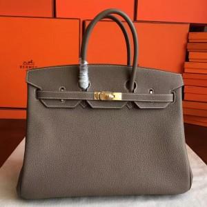 Hermes Etoupe Clemence Birkin 40cm Handmade Bag