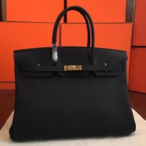 Hermes Black Clemence Birkin 40cm Handmade Bag