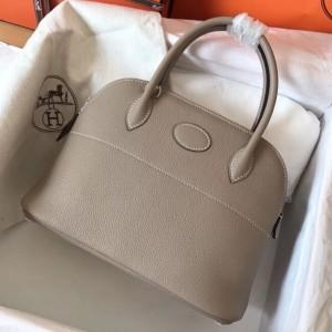 Hermes Tourterelle Clemence Bolide 27cm Handmade Bag