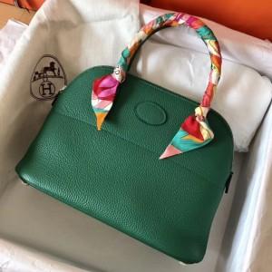 Hermes Vert Vertigo Clemence Bolide 27cm Handmade Bag