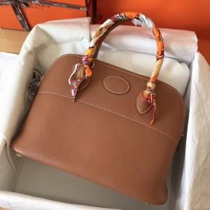 Hermes Gold Clemence Bolide 35cm Handmade Bag