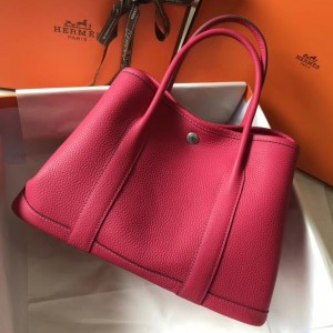 Hermes Rose Red Clemence Garden Party 30cm Handmade Bag