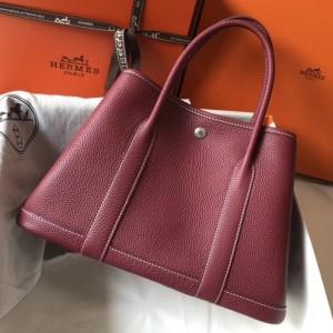 Hermes Ruby Clemence Garden Party 30cm Handmade Bag