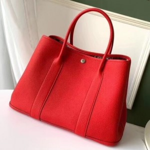 Hermes Red Fjord Garden Party 30cm With Printed Lining