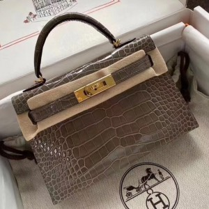Hermes Taupe Grey Alligator Crocodile Kelly Mini II Handmade Bag