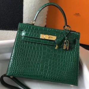 Hermes Kelly 25cm Bag In Green Embossed Crocodile