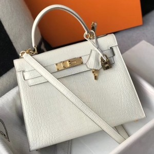 Hermes Kelly 25cm Bag In White Embossed Crocodile