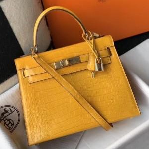 Hermes Kelly 25cm Bag In Yellow Embossed Crocodile