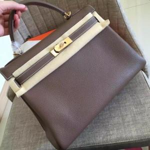 Hermes Etoupe Clemence Kelly Retourne 32cm Handmade Bag