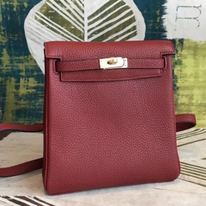 Hermes Bordeaux Clemence Kelly Ado PM Backpack