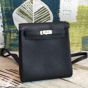 Hermes Black Clemence Kelly Ado PM Backpack