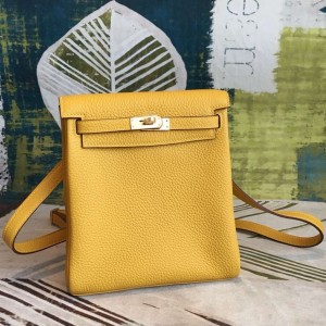 Hermes Yellow Clemence Kelly Ado PM Backpack
