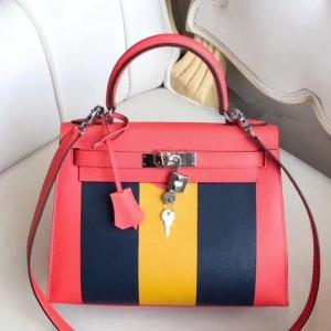 Hermes Multicolor Stripes Kelly 28cm Red Bag