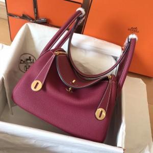 Hermes Ruby Lindy 26cm Clemence Handmade Bag
