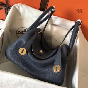 Hermes Dark Blue Lindy 26cm Clemence Handmade Bag
