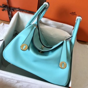 Hermes Blue Atoll Lindy 30cm Swift Handmade Bag
