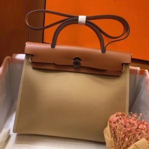 Hermes Herbag Zip 31cm Bag In Brown And Beige