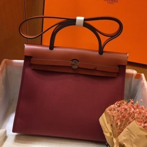 Hermes Herbag Zip 31cm Bag In Camel And Bordeaux